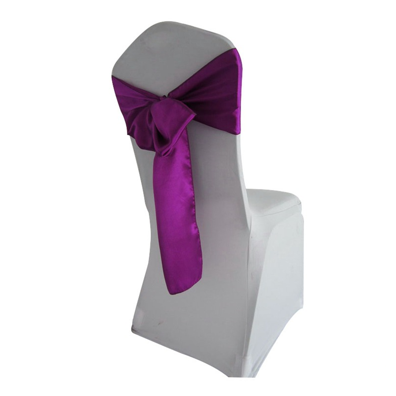 Fancy Purple Satin Chair Sashes For Weddings/ Banquet