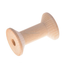 Empty Thread Bobbins Wooden Spools Unfinished Natural Color Sewing Accessories