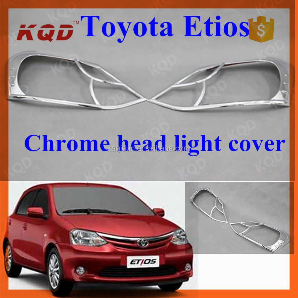 ABS Chrome headlight cover for toyota etios accessories head lamp cover toyota etios 2013 car garnish exterior accessories