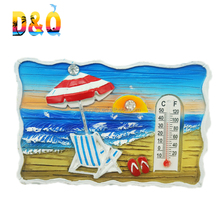 New promotional beach scenery polyresin fridge magnet thermometer
