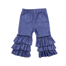 Lanye high quality low price pattern kids ruffle kint denim botique style girls jeans pants