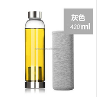 Best Gift Logo Customized 550ml&420ml Fancy Glass Knight Water Bottle High Borosilicate Glass with filter