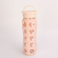 No Leak FDA Passed BPA Free Plastic Glass Water Bottle With Silicone Sleeve