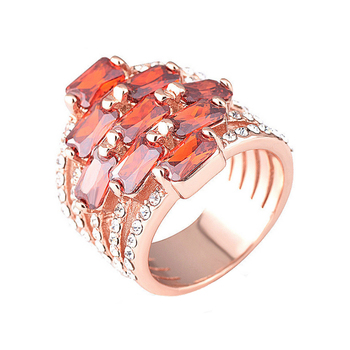 Luxury zircon-studded plated rose gold diamond ring wholesale