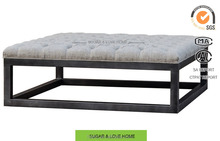 french industrial furniture, square shape ,button tufted coffee table with linen