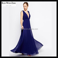 Deep V Plunging Neckline Backless Sleeveless Pleated Skirt Evening Party Prom Long Dress For Elegant Women