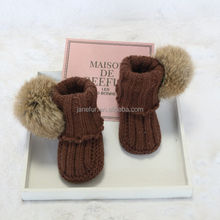 Winter Autumn Cute Pom Pom Girl Hand Crochet Booties Baby Sock Shoes