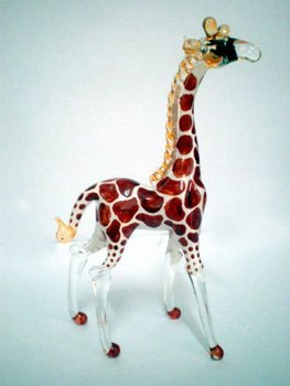 GIRAFFE FANCY ART HAND BLOWN GLASS CRYSTAL FIGURINE