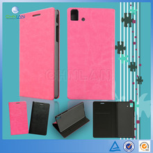 Business style plain color combined stand book style leather cover for BQ Aquaris E5