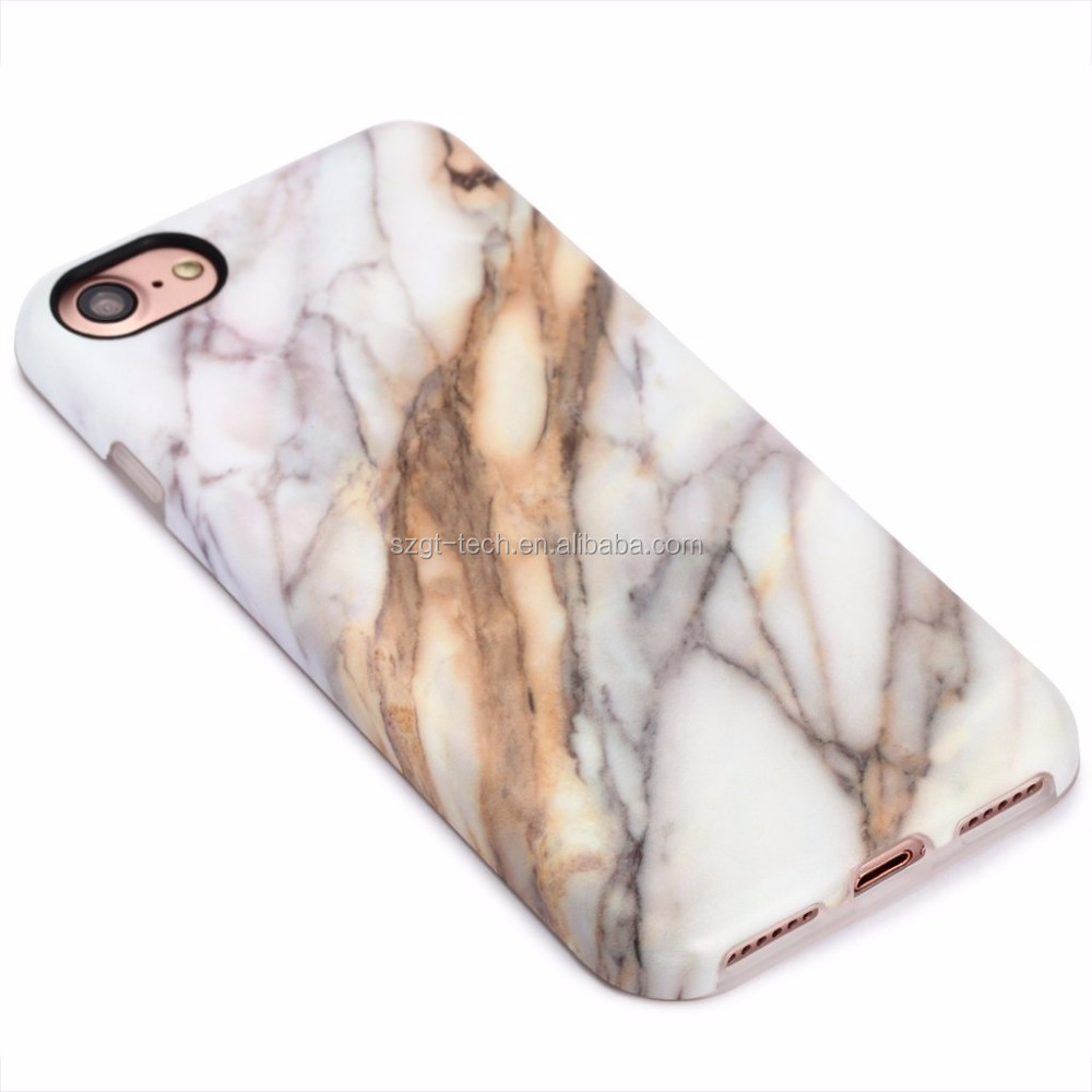 Marble Pattern Stone Texture Anti-slip Soft Flexible TPU Slim Fit Thin Cover Case for Iphone 7 4.7""