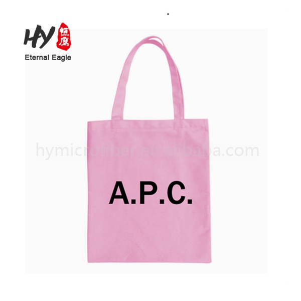 Leather handle custom logo printed canvas tote bag