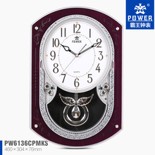Plastic Case Decorative Pendulum Multifunction Old Style Wall Clock With 18 Music For Chiming And Sweep Quartz Movement