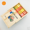 Wooden ABC Carved Alphabet Building Blocks Stacking Games Montessori Educational Toys With Storage Box for Kids 48 pcs
