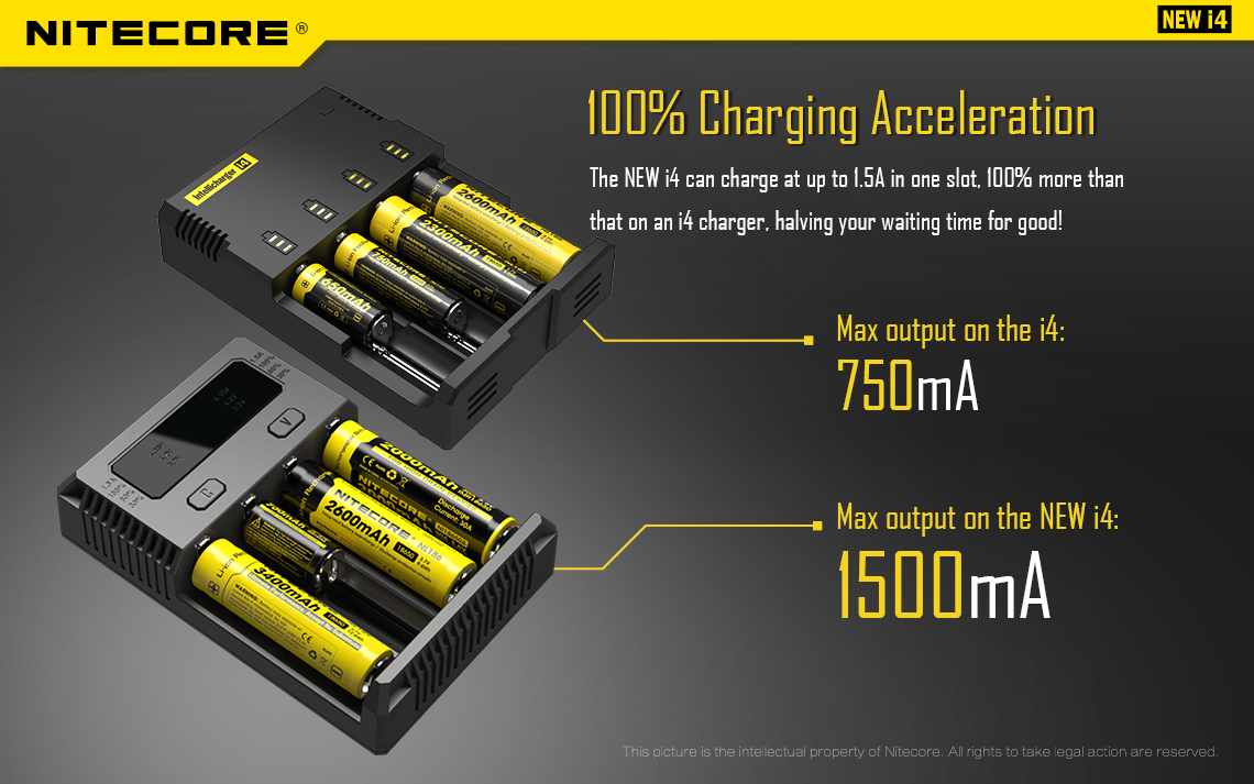 100% charging acceleration intellicharger New I4 Li-ion NiMH Battery 4-slot Charger