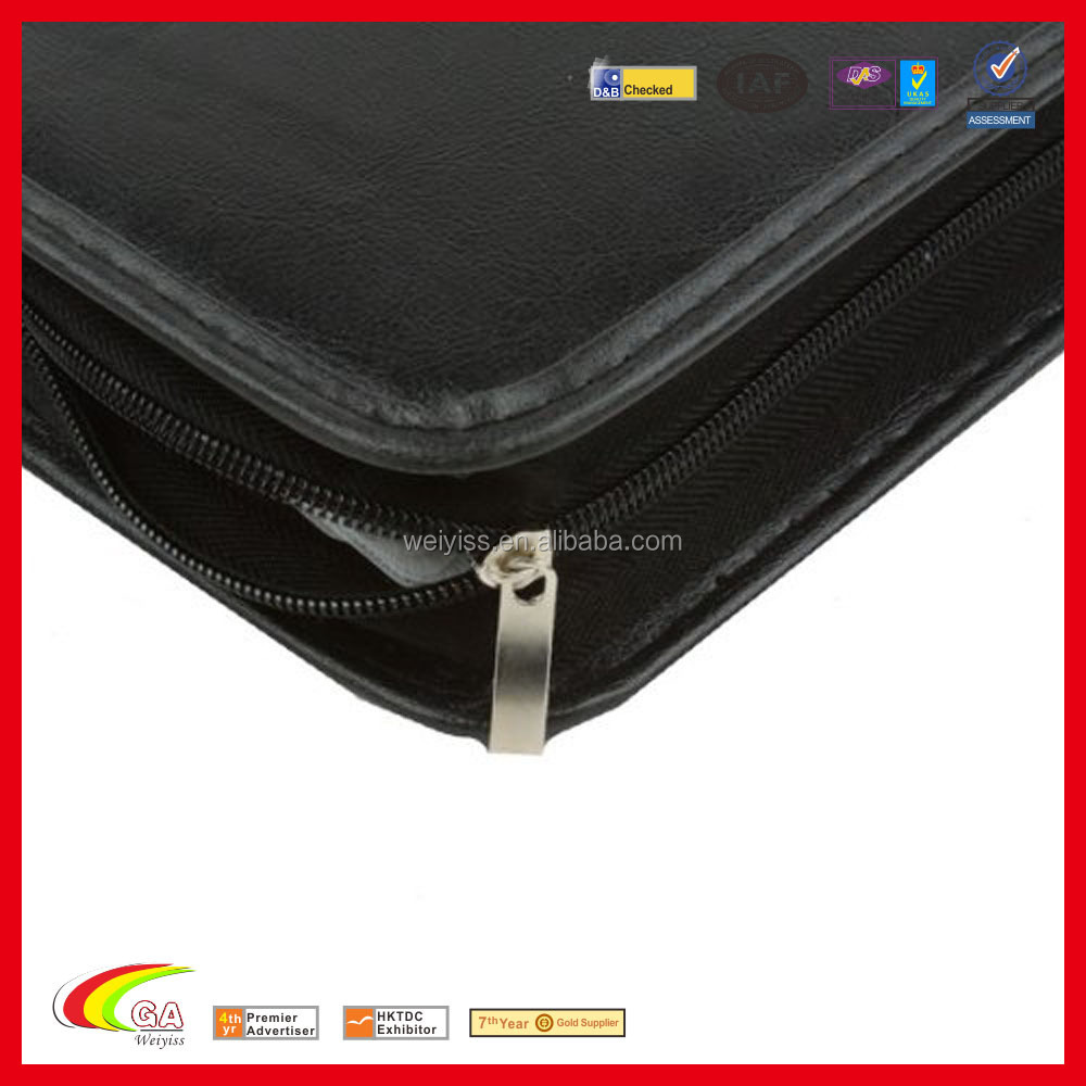 Zipper leather CD bag DVD bag with strap for customized