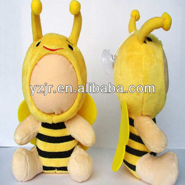 3D face doll large bee plush toy in yellow
