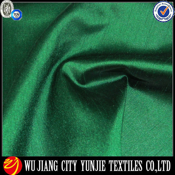 Polyester Slub Satin Fabric/Polyester Green Satin Fabric/Polyester Slub Curtain Fabric