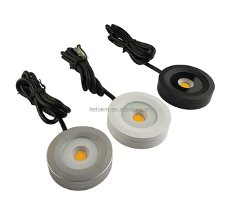 110V 220V dimmable 3W cob LED cabinet mounted puck led light ip65