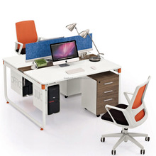 white small office desk size 2 positions workstation for employee IC3063-2A