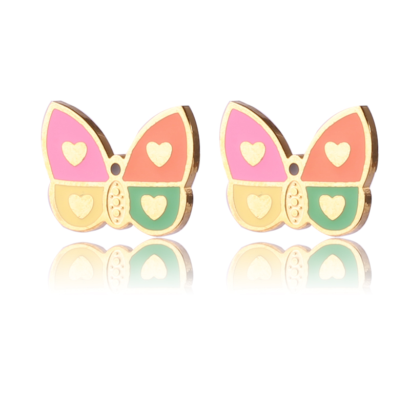 Popular stainless steel gold plated butterfly shape earring supplies