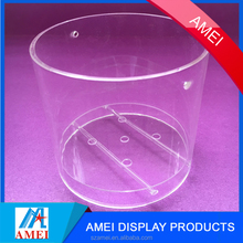2017 hot clear acrylic flower pot with leakage holes