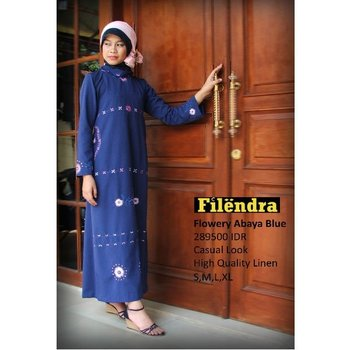 Flowery Abaya Blue Clothing