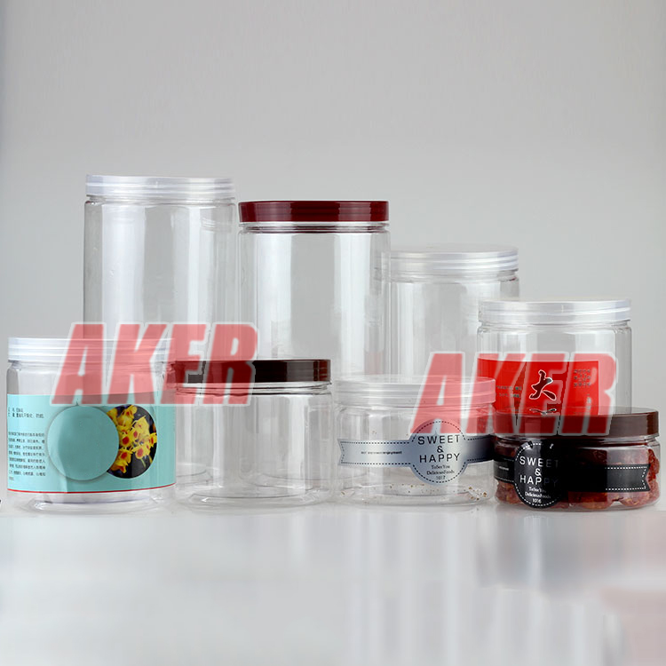 Custom Any Size Wide Mouth Clear Plastic Pet Jar , Clear Food Bottle With Clear Plastic Lid Custom Sticker