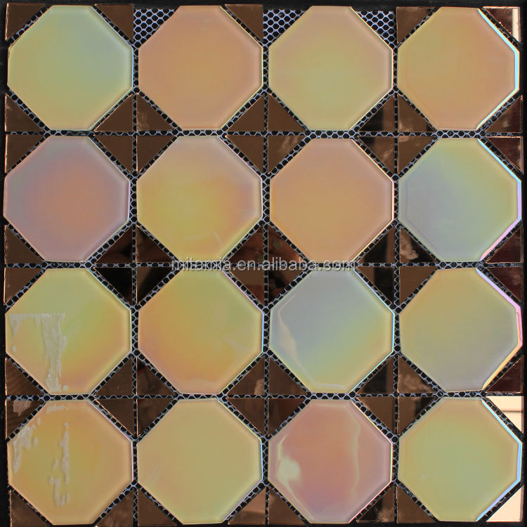 New trend yellow gold octagon mat glass mix mirror glass mosaic tile for decor