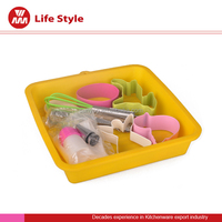 9 pcs kids bakeware tools silicone cake/cookies/bread decorating bakeware with eggbeat/duck/fawn