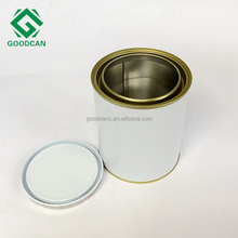 1liter empty round storage tin can with lid