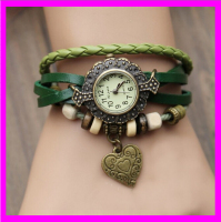 KD9293 Fashion women vintage braid wrap quartz leather wrist watch