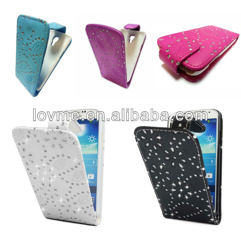 DIAMOND GEM GLITTER LEATHER FLIP CASE POUCH COVER FOR SAMSUNG GALAXY S4 MINI