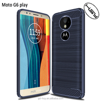HUYSHE Best Quality!For Moto G6 Play Silicone Back Cover Soft Texture Perfect Fit Brushed Carbon Fiber TPU Case For Moto G6 Play