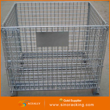 own factory 4 wheels metal wire mesh rolling container folding storage chain link cage