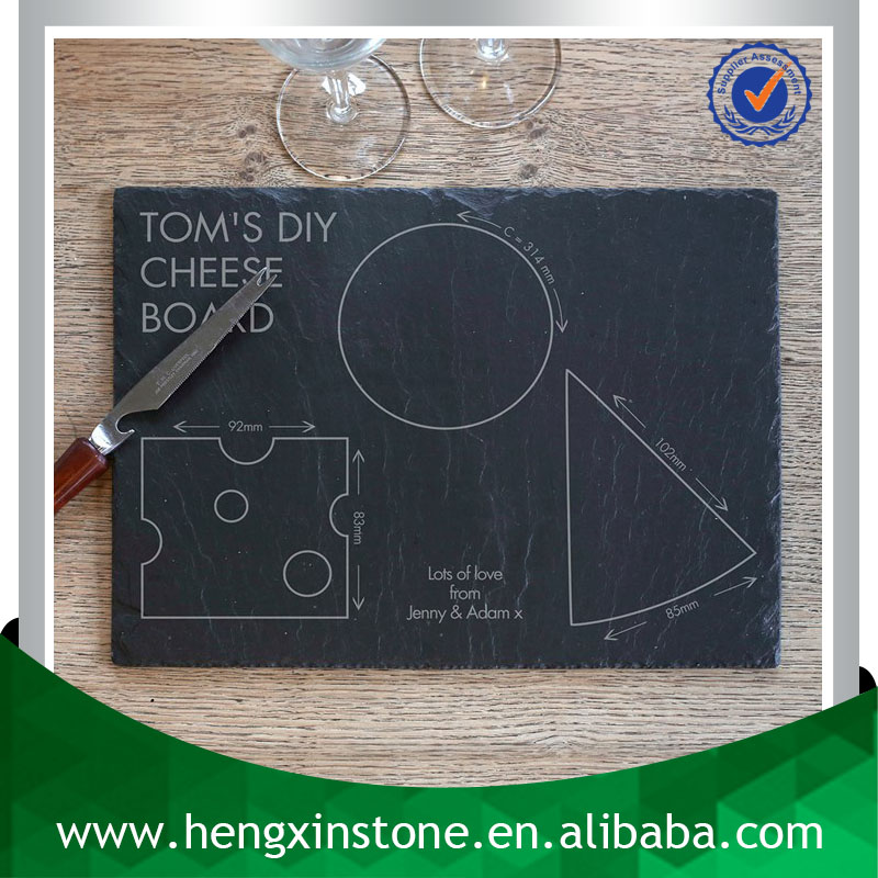 Handmade Wholesale Natural Edge 35*25*0.5cm Customized Laser Engraved Black Slate Customized Dinner Plates For Restaurants
