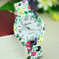 2014 New Women Casual Watches High Quality Ladies Floral Print Wrist Watches Geneva Brand Dressing Watches