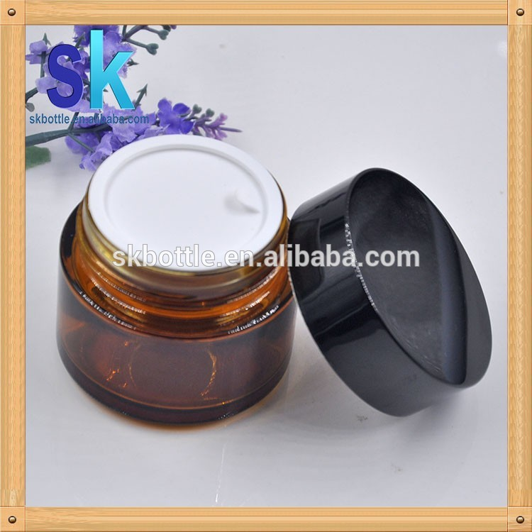 100g amber glass jar for cream 50g glass jar cream container wholesale