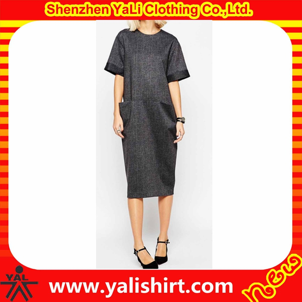 Customized plain cheap grey short sleeve polyester two pockets oversized loose dresses online shopping