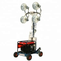 portable 4*2000W LED lighting tower with diesel mobile trailer silent generator