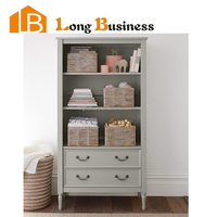 LB-VW5077 High gloss modern wooden bookcase design with drawers