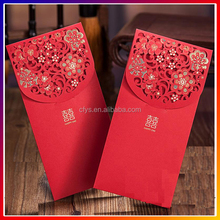 Customized Elegant Matte Red high rank decorative Pearl paper card envelopes