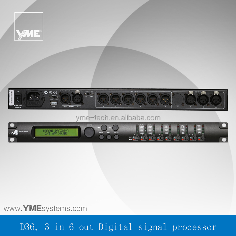 D36 3in-6out professional digital speaker processor,sound system digital signal processor,digital sound processor