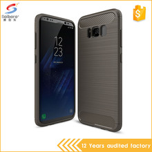 Best selling tpu carbon fiber brush for samsung galaxy s8 case
