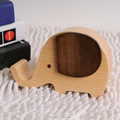 Dual function!Clockwork type Elephant shape wooden music box also phone holder
