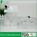 Security transparent bottom gusset liquid stand up pouch with spout