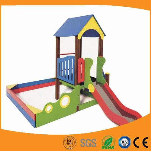 Safety wooden playground equipment outside playhouse play slide