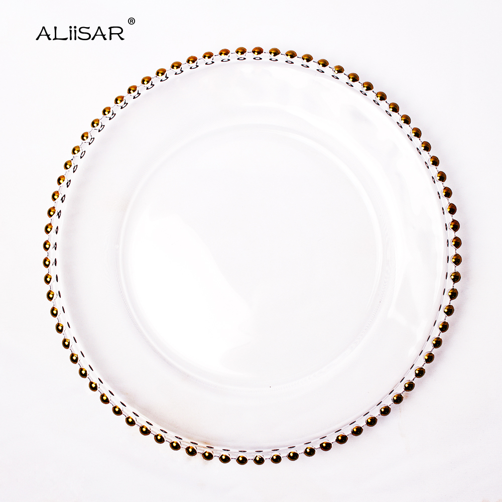 ALiiSAR free sample 2018 new products Wedding Beaded Charger Plate Wholesale Dinner Plates