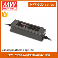 60W Waterproof LED Power Supply 30V 2A NPF-60D-30 Meanwell PWM Dimmable LED Driver