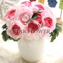 2017 New Product SF2017105 Real Touch China Cheap Artificial Flower Single Tea Silk Rose Bouquet for Wedding Party