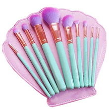DZ New 10Pcs/Set maquillage Mermaid Dreams Luxury Make Up Tools Kit Powder Makeup Brushes with Scallop Shell Cosmetic Bag